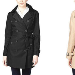 MICHAEL KORS Double-Breasted Black Trench Coat *16